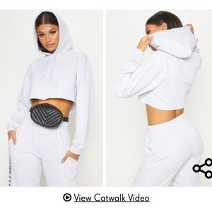 Pretty little thing oversized crop hoodie
